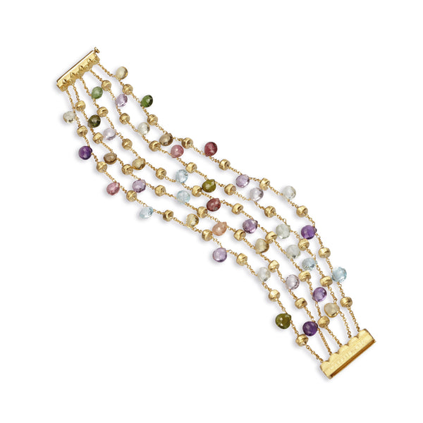 18K Yellow Gold & Mixed Stone Five Strand Bracelet