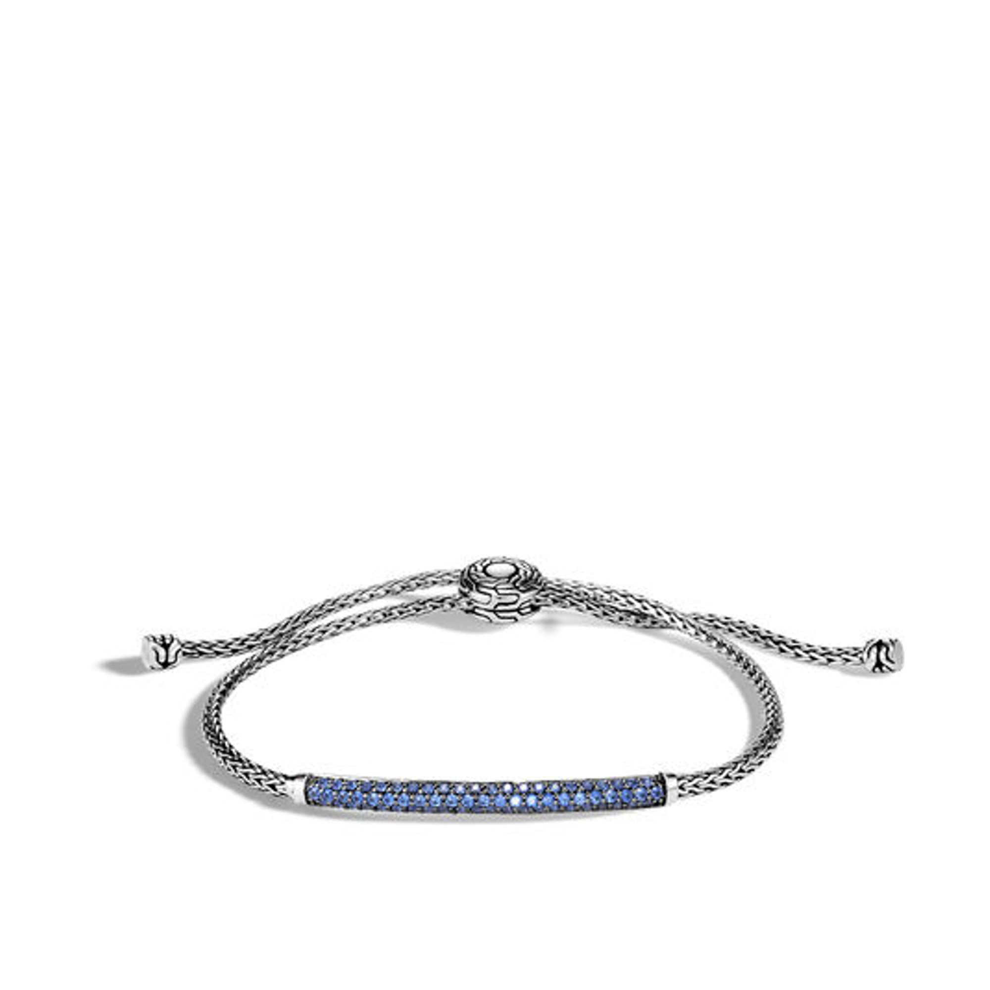 Women's Classic Chain Pull Through Bracelet with Blue Sapphire