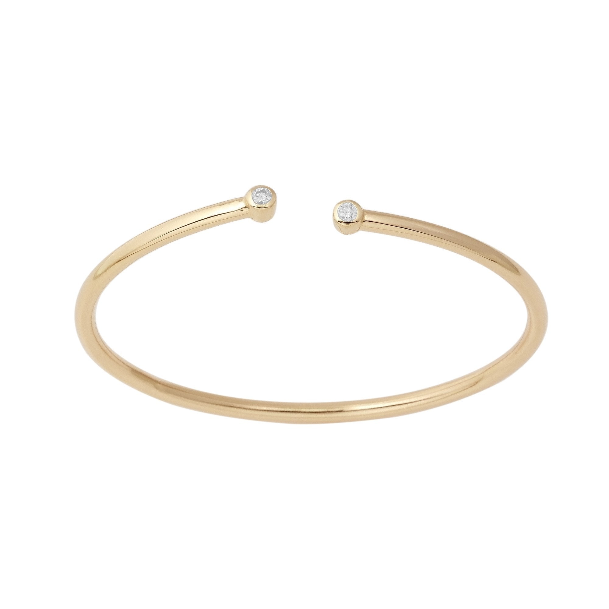 14K Yellow Gold Flexible Diamond Bangle Bracelet 2 Stone