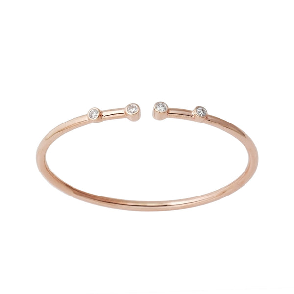 14K Rose Gold Flexible Diamond Bangle Bracelet 4 Stone