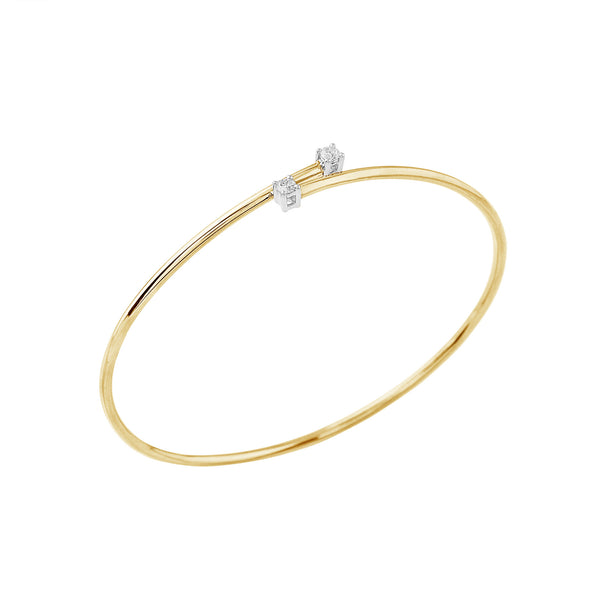 Flexible Diamond Bypass Bracelet 2 Stone
