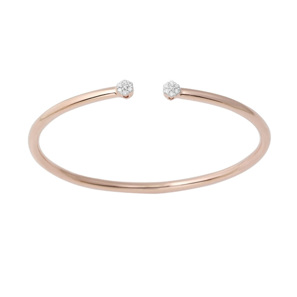 14K Rose Gold Flexible Cuff Diamond Cluster Bangle