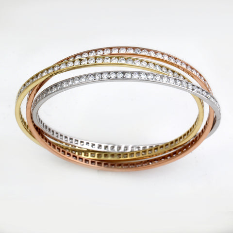 18K Yellow White and Rose Gold 14.00CTTW Channel Set Intertwined Bangles