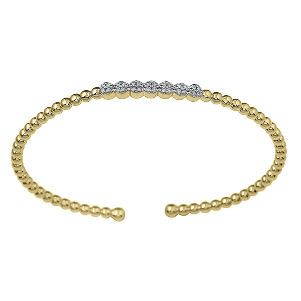 14K Yellow Gold 0.23CTTW Lab Grown Diamond Beaded Station Cuff