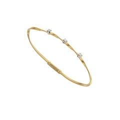 18K Yellow Gold & Diamond Stackable Bangle