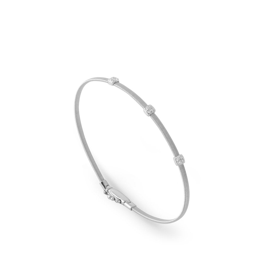 18K Small Three Station Diamond Bracelet in White Gold