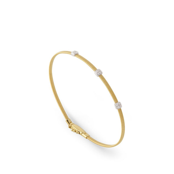 18K Small Three Station Diamond Bracelet in Yellow Gold