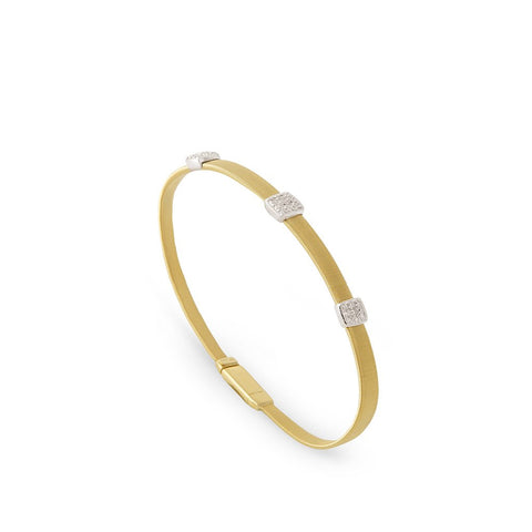 18K Three Station Diamond Bracelet in Yellow Gold