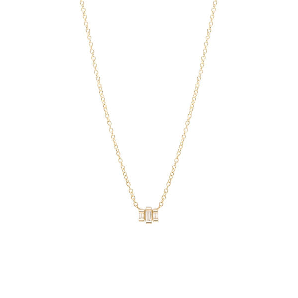 14K 3 STEPPED BAGUETTE NECKLACE