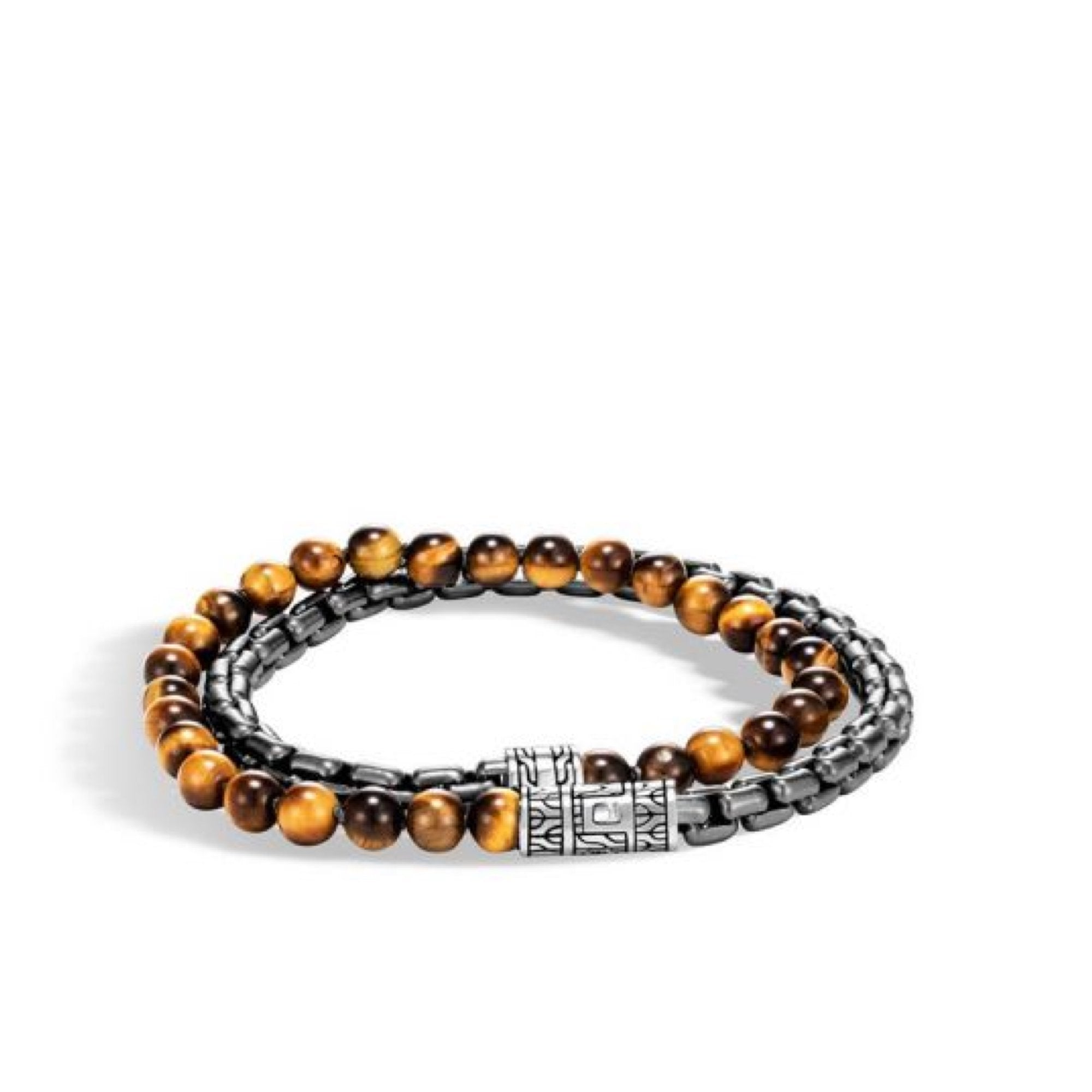 Men's Box Chain Wrap Bracelet with Tiger's Eye