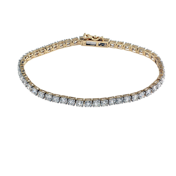 14K Yellow Gold 7.15CTW Lab-Grown Diamond Tennis Bracelet