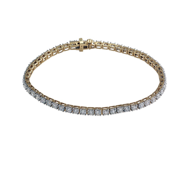 14K Yellow Gold 5.00CTW Lab-Grown Diamond Tennis Bracelet