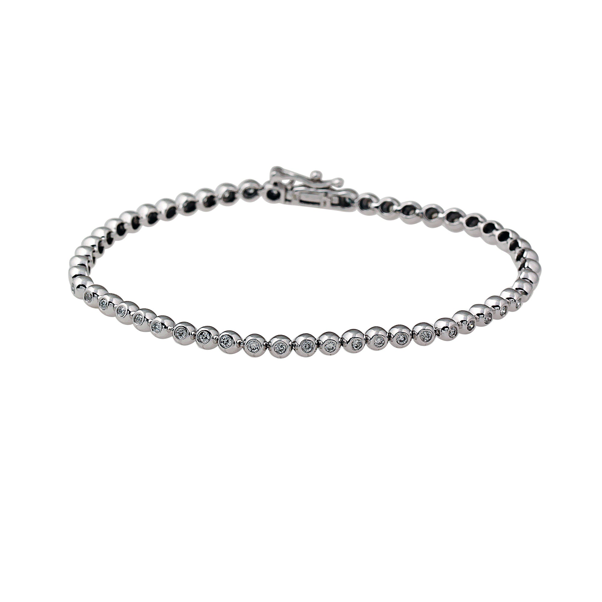 14K White Gold Bezel Set Diamond Tennis Bracelet (1.00 ct. tw.)