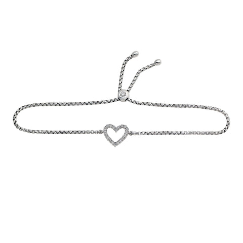 Adjustable Diamond Heart Bolo Bracelet