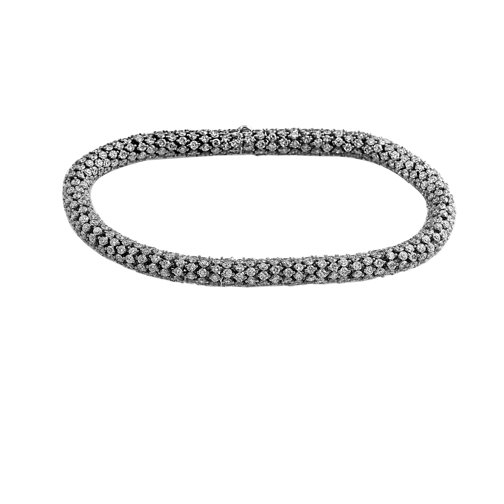 14K White Gold 16.75CTTW Lab Grown Diamond Fancy Link Bracelet