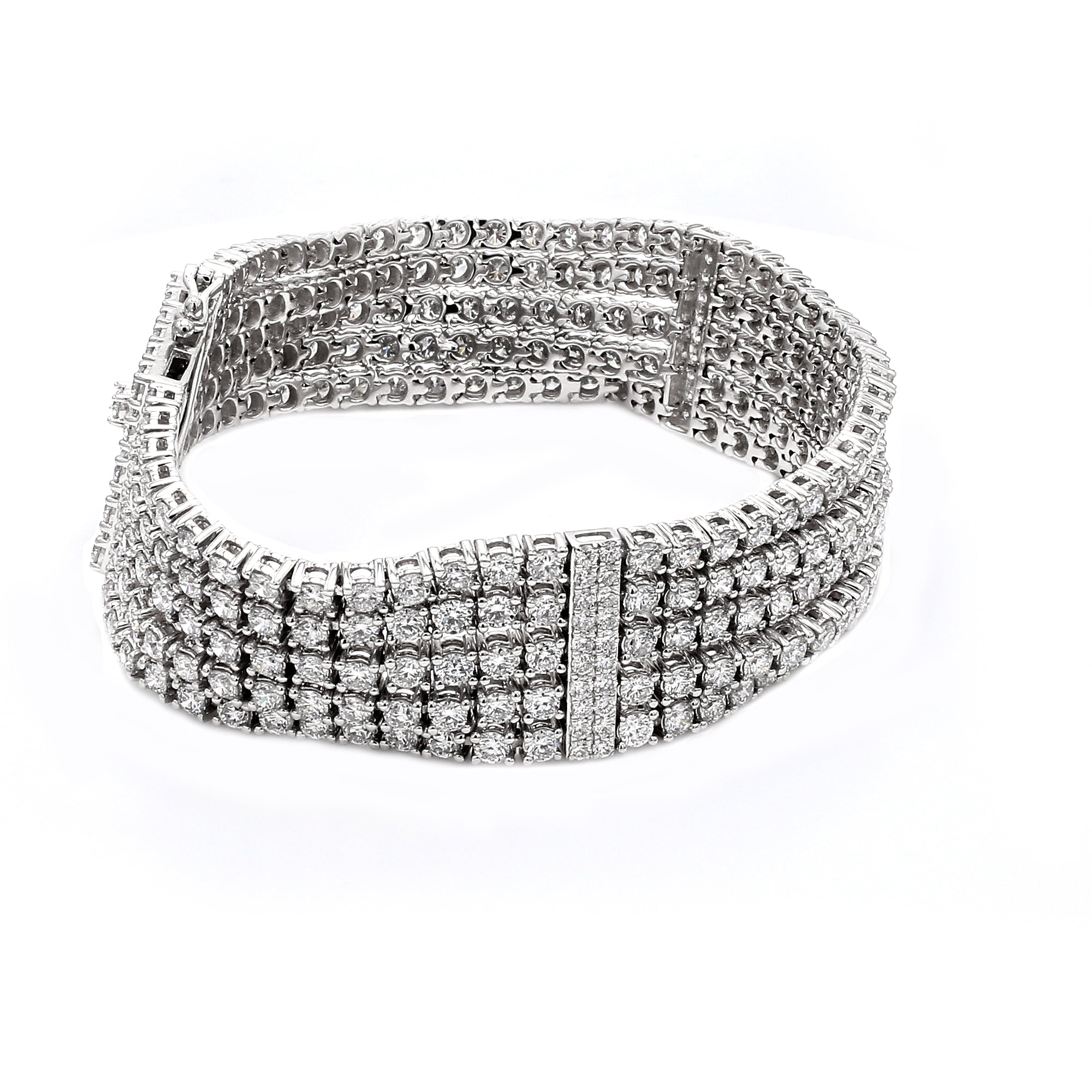14K White Gold 20.00CT TW Lab Grown Diamond Multi-Row Bracelet