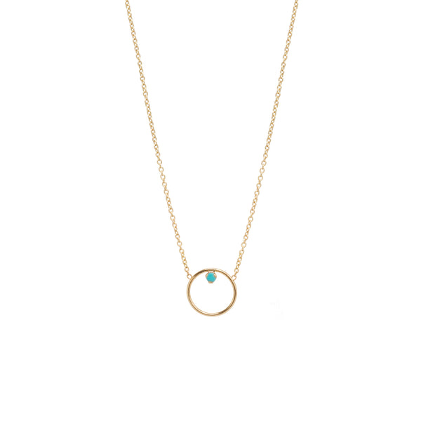 14K CIRCLE PRONG TURQUOISE NECKLACE