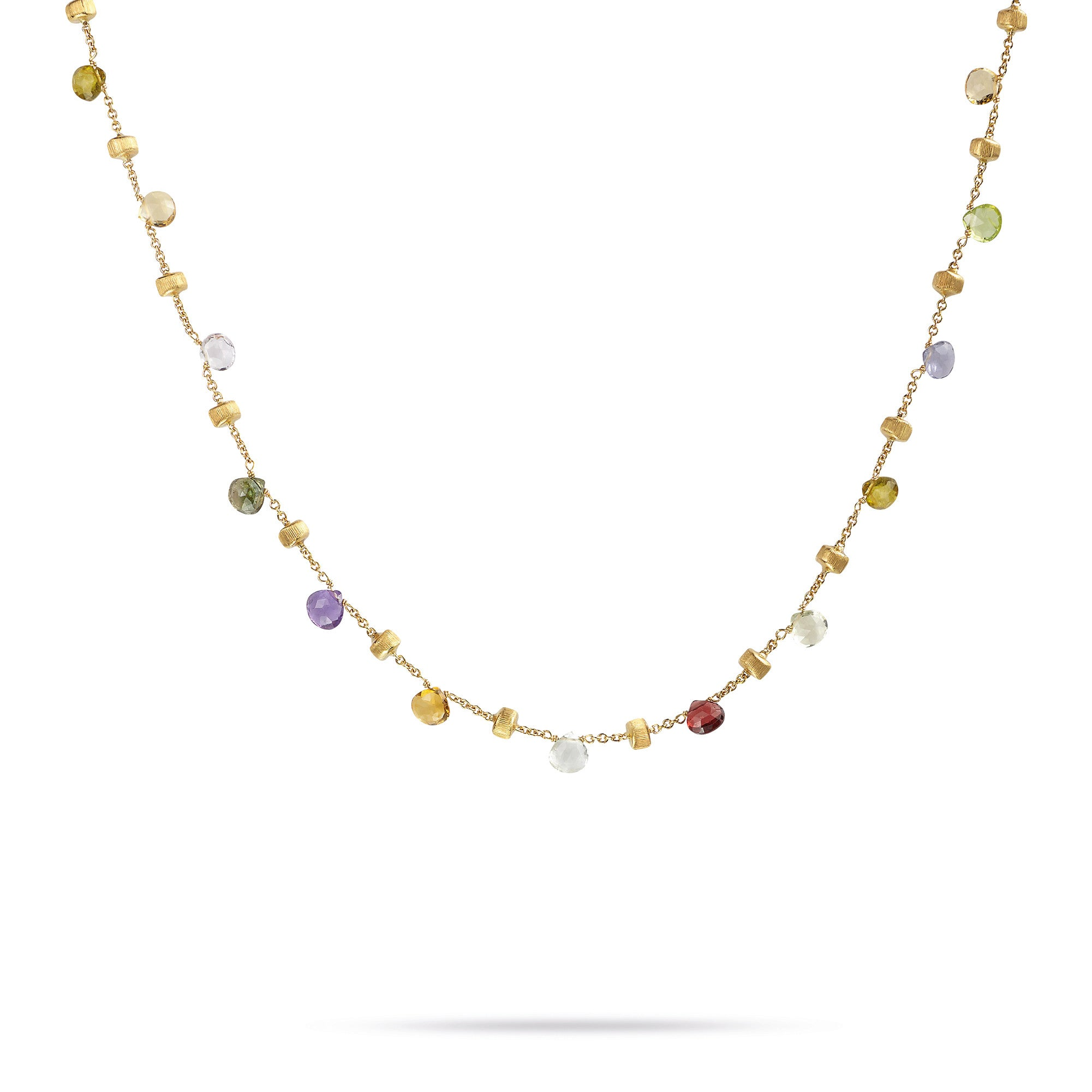 18K Yellow Gold & Mixed Stone Short Necklace