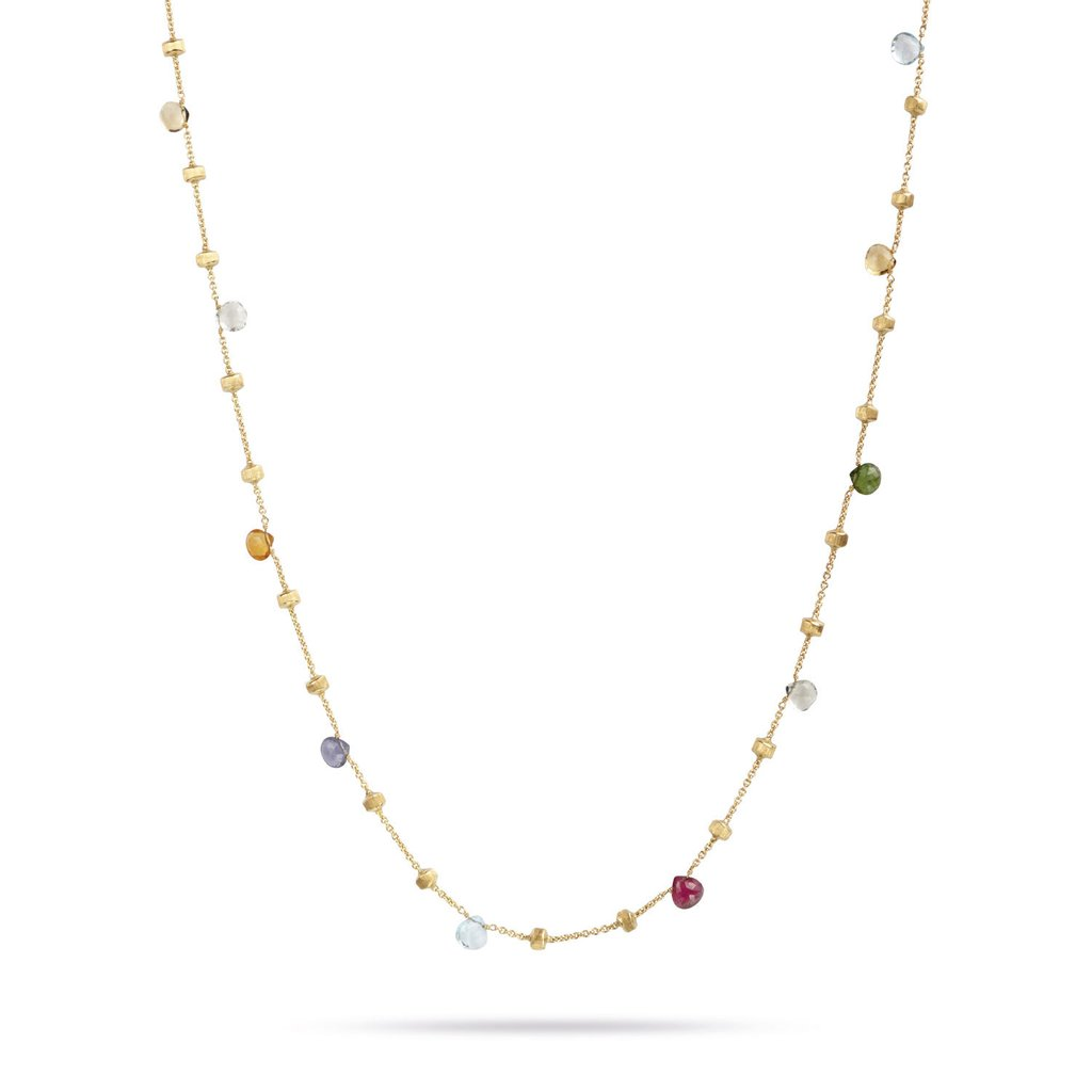 18K Yellow Gold  & Mixed Stone Long Necklace