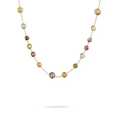18K Yellow Gold & Mixed Gemstones Small Bead Necklace