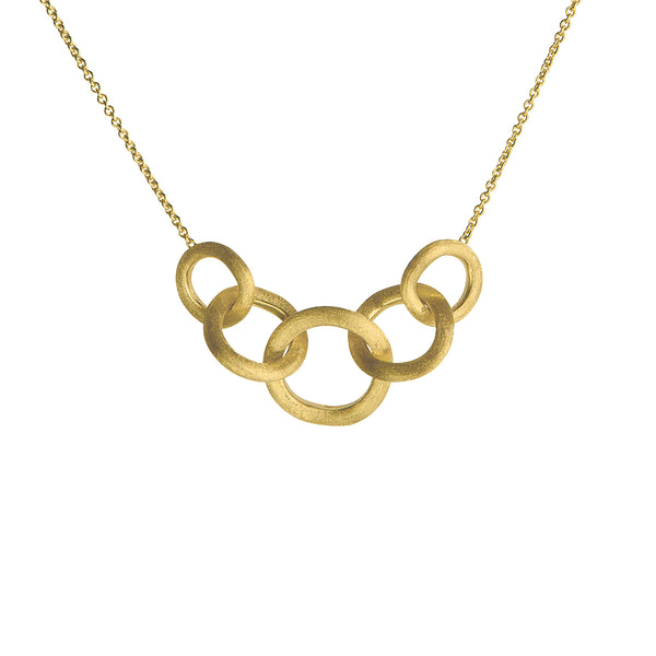18K Yellow Gold Link Graduated Necklace