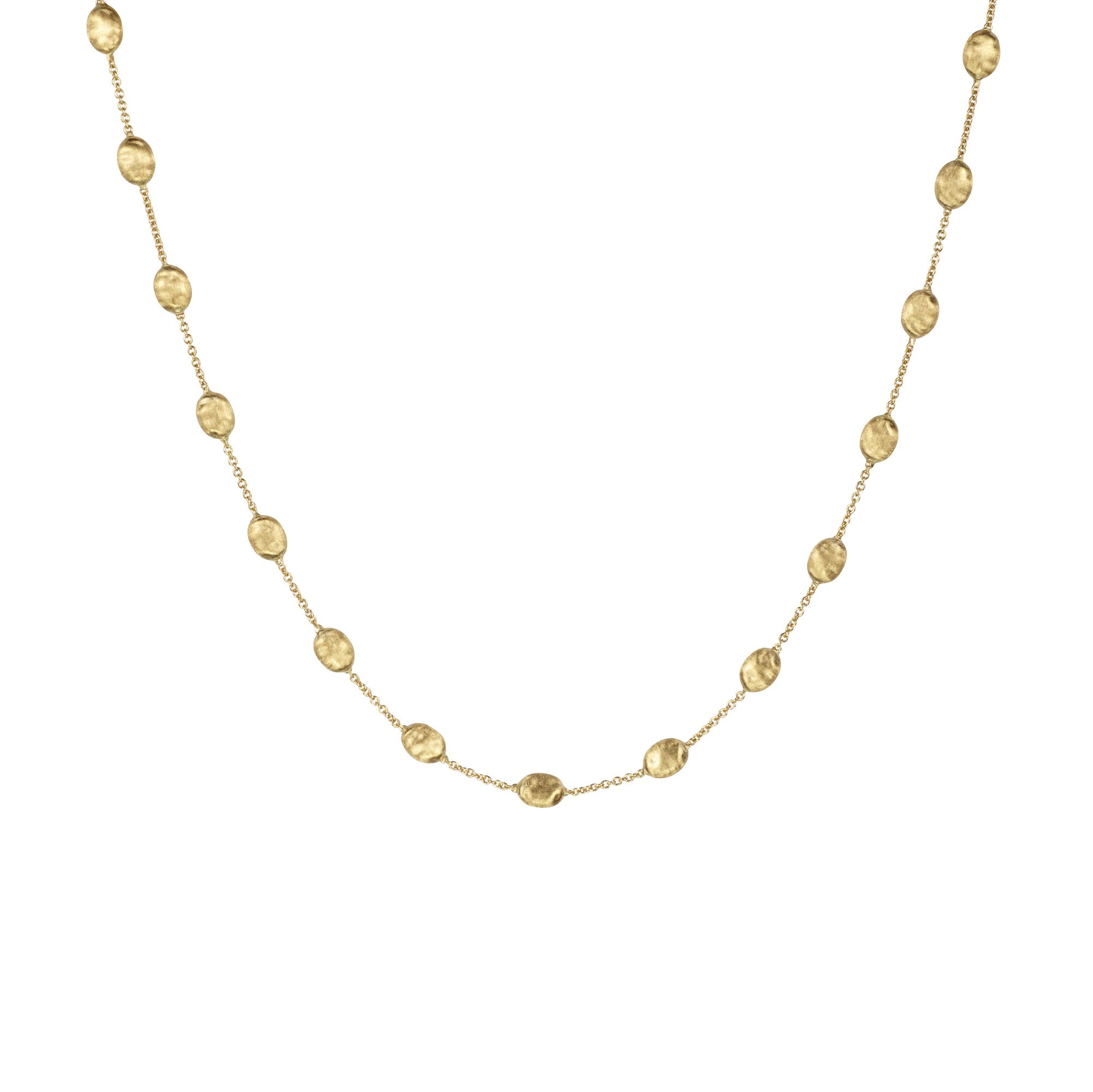 18K Yellow Gold Beaded Station Necklace