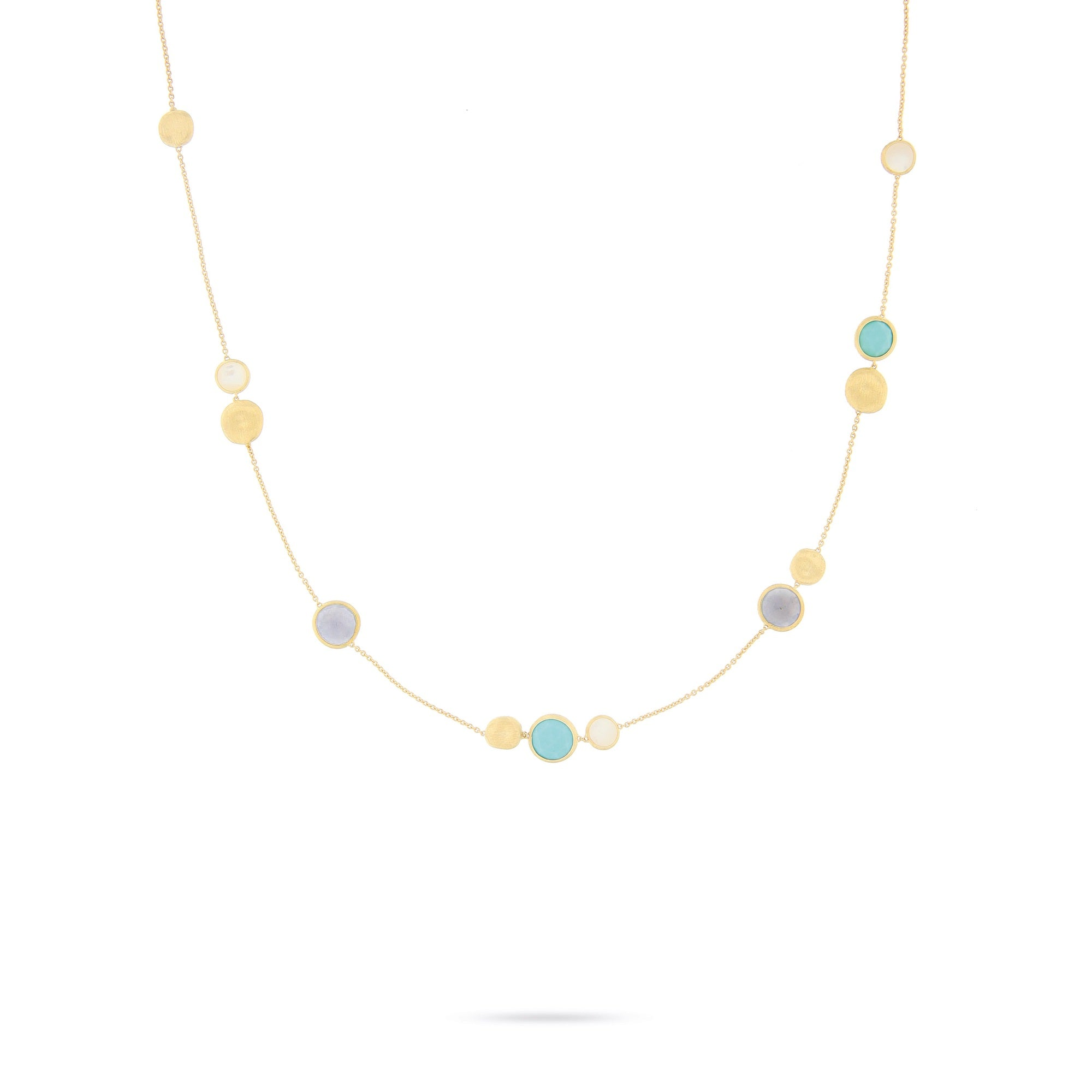 18K Yellow Gold & Mixed Blue Topaz Necklace