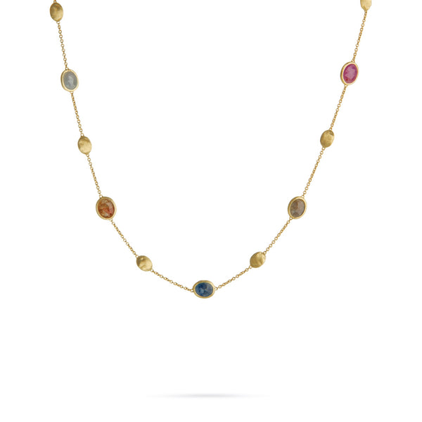 18K Yellow Gold & Multicolor Sapphire Station Necklace