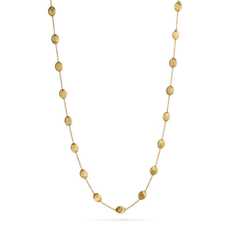 18K Yellow Gold  Large Bead Long Necklace