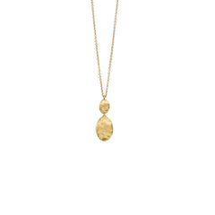 18K Yellow Gold Bead & Diamond Drop Pendant