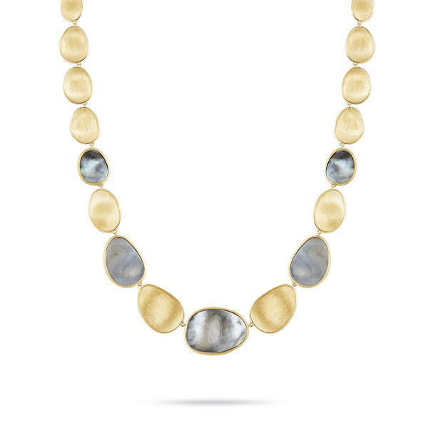 18K Yellow Gold & Black Mother-of-Pearl Lunaria Necklace