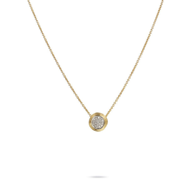 18K Yellow Gold  & Diamond Pave Bead Pendant