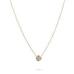 18K Yellow Gold Diamond Pave Necklace
