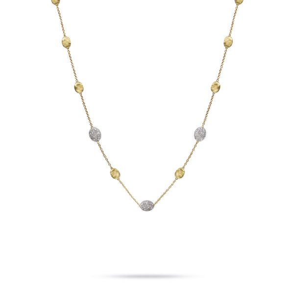 18K Yellow Gold & Diamond Pave Small Bead Necklace
