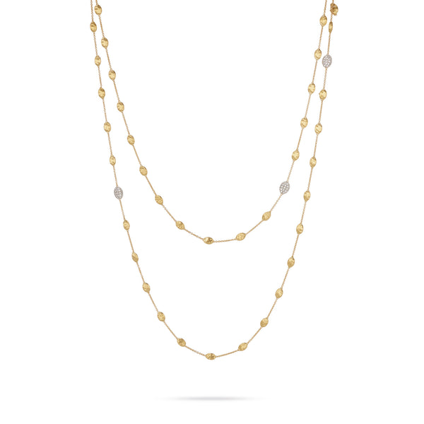 18K Yellow Gold & Diamond Pave Small Bead Long Necklace
