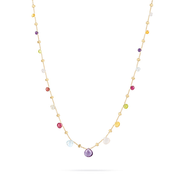18K Yellow Gold & Mixed Stone Graduated Short Necklace