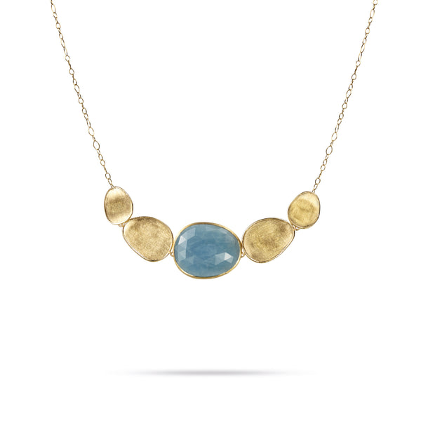 18K Yellow Gold & Aquamarine Graduated Necklace