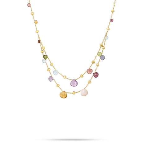 18K Yellow Gold & Mixed Stone Graduated Two Strand Necklace