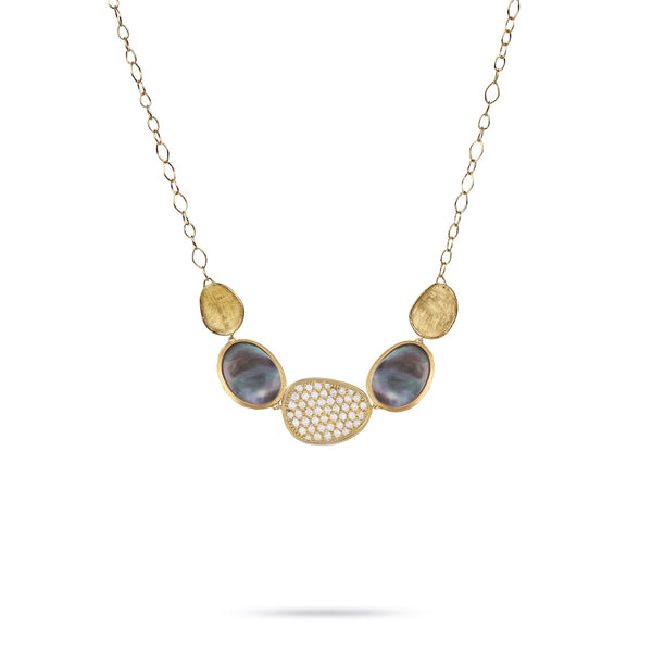 18K Yellow Gold Necklace with Black Mother of pearl & Pave Diamonds