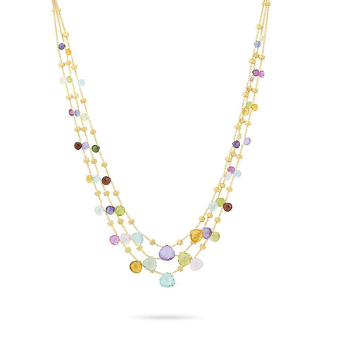 18K Yellow Gold  & Mixed Stone Graduated Three Strand Necklace