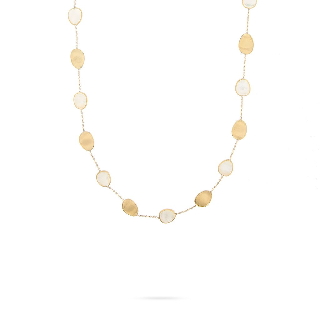 18K Yellow Gold  & White Mother of Short Necklace