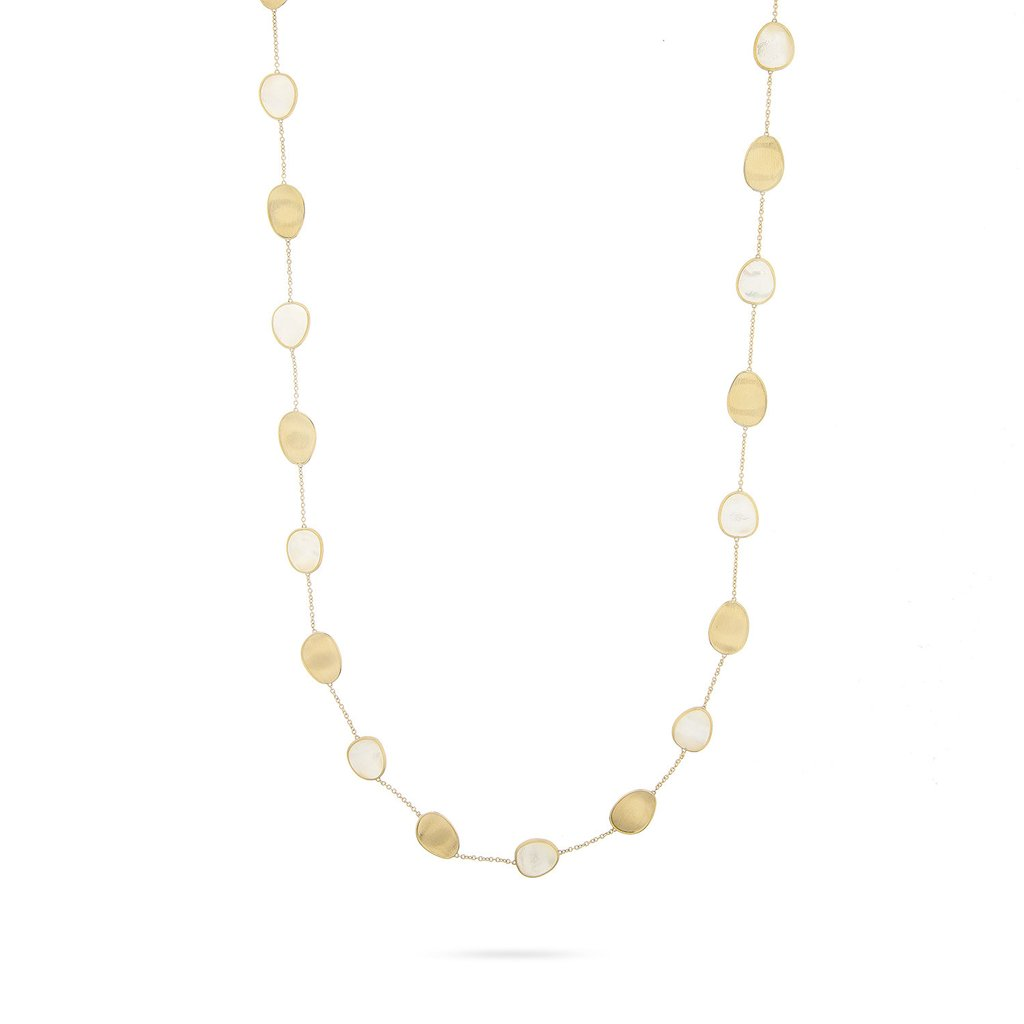18K Yellow Gold  & White Mother of Long Necklace