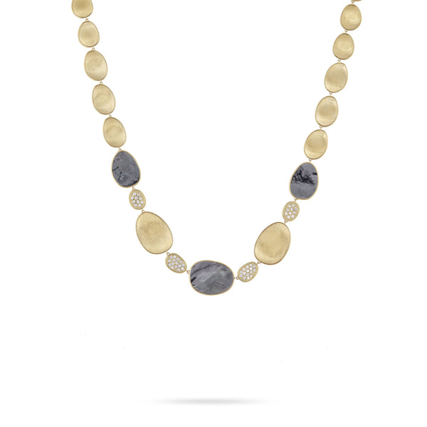 18K Yellow Gold Black Mother of Pearl & Diamond Station Necklace