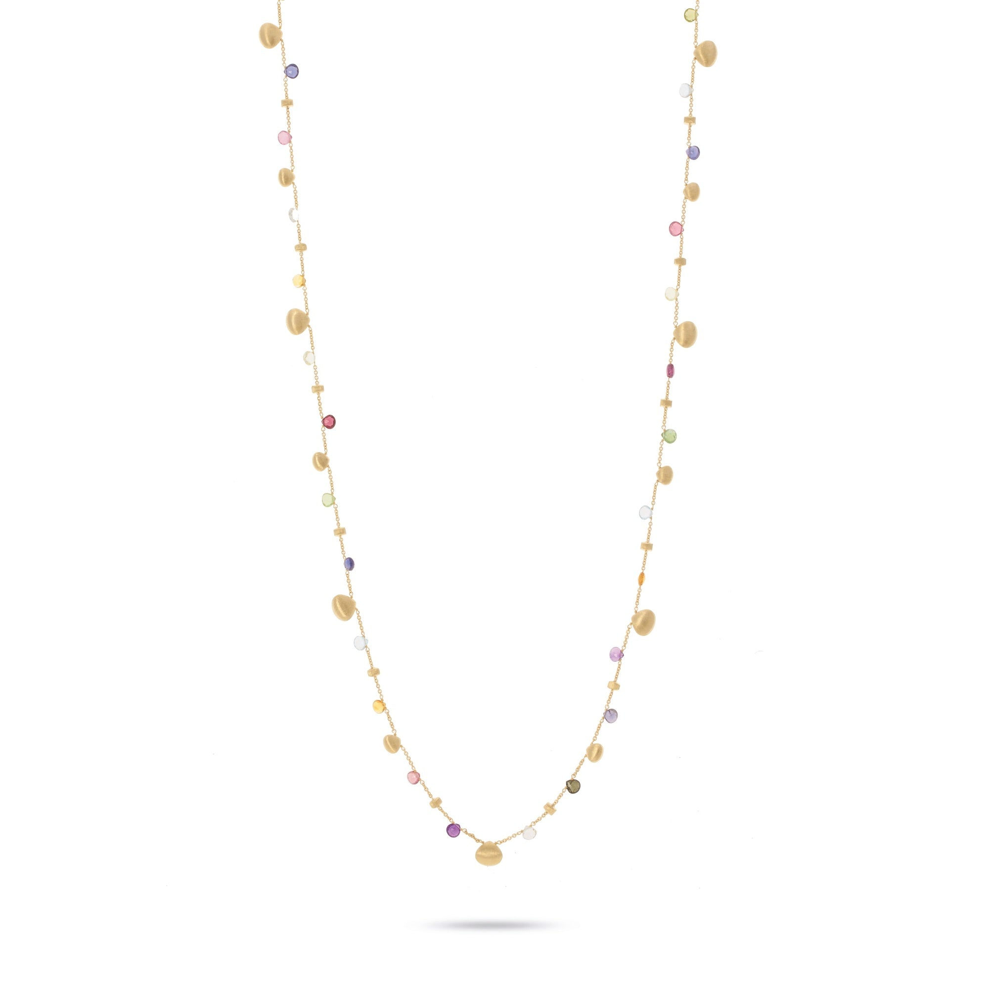 18K Yellow Gold and Mixed Gemstone Long Necklace