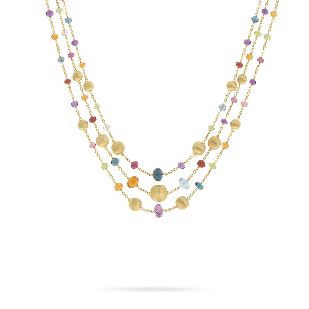 18K Yellow Gold and Multi-Colored Gemstone Triple Strand Statement Necklace