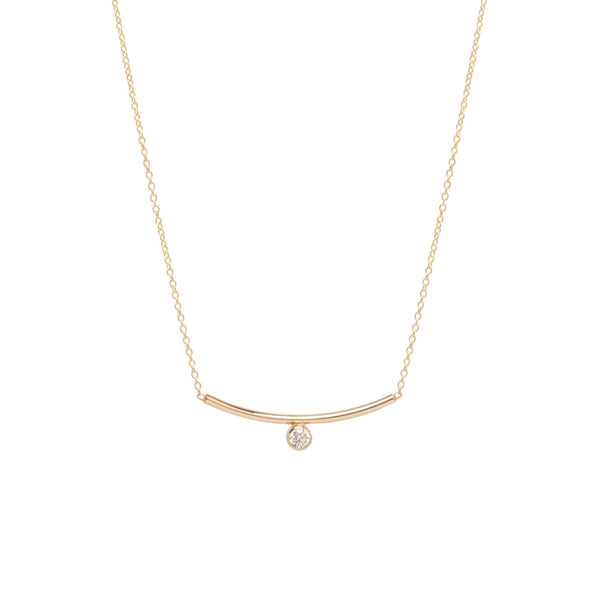 14K BEZEL DIAMOND CURVED BAR NECKLACE
