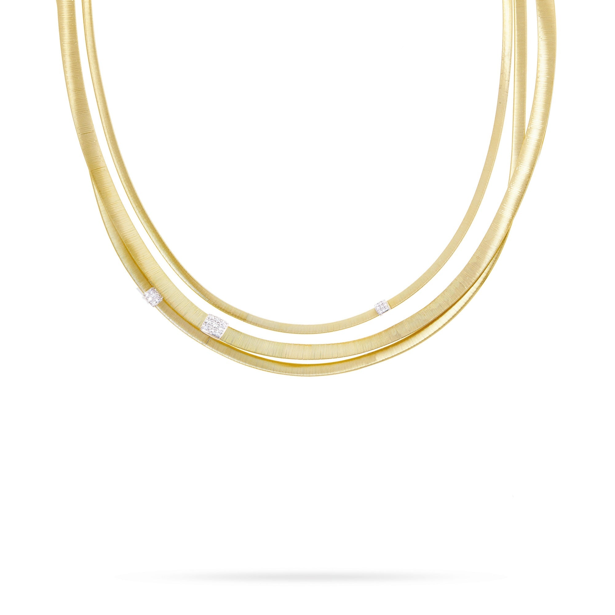 18K Three Strand Diamond Necklace in Yellow Gold