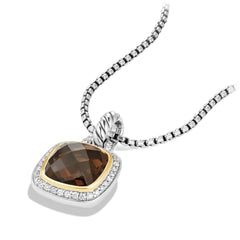 Pendant with Smoky Quartz and Diamonds with 18K Gold