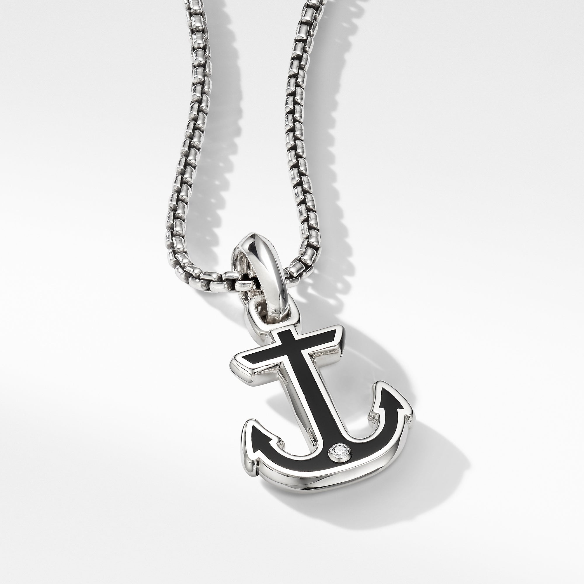 Maritime® Anchor Amulet with Black Onyx and Center Diamond
