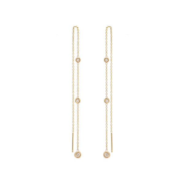 14K GRADUATED FLOATING WHITE DIAMOND CHAIN THREADERS